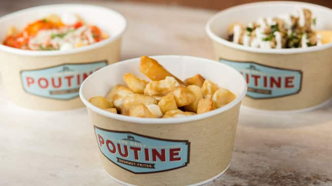 Three cups of gourmet frites from the Daily Poutine