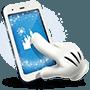 Un ícono del guante de Mickey Mouse toca un dispositivo móvil con el Castillo de la Bella Durmiente en la pantalla