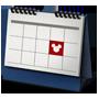 Un ícono de calendario con una casilla marcada con un símbolo de Mickey