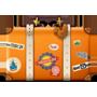 Un icono de una maleta con calcomanías de viaje