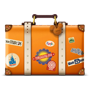 An icon of a suitcase with travel stickers