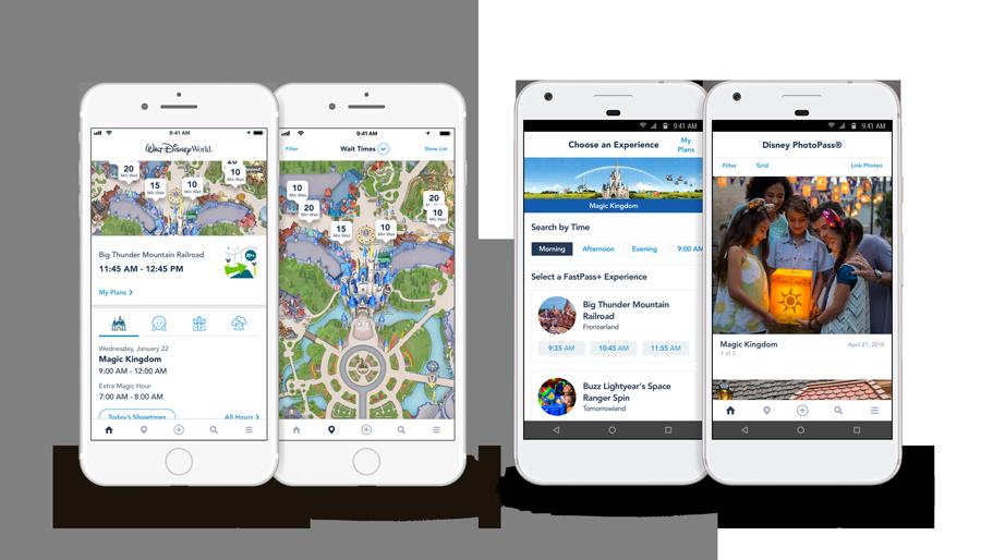 Les iPhone ainsi que les téléphones Android affichent les temps d'attente aux attractions sur les cartes des parcs et le menu principal de l'application