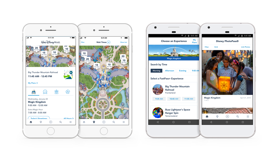 iPhones and Android phones show attraction wait times on park maps and the app main menu
