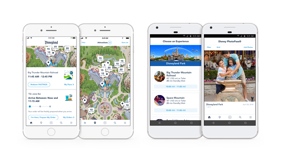 The Park Info, Attractions, Choose an Experience and PhotoPass screens of the Disneyland Resort app